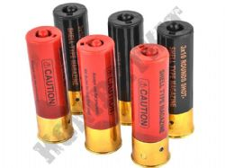 Double Eagle M56 Tri Shot Airsoft BB Shotgun Shells 6 Pack Black & Red